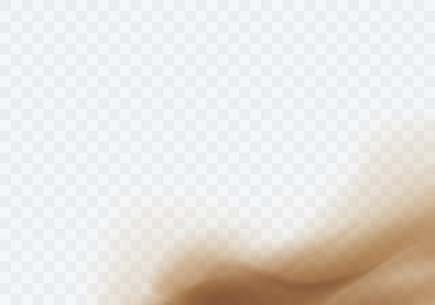 Песчаная буря пустыни, коричневое пыльное облако на прозрачном Бесплатные векторы