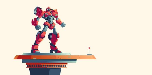 Красный робот трансформер инопланетный захватчик на космическом корабле Бесплатные векторы