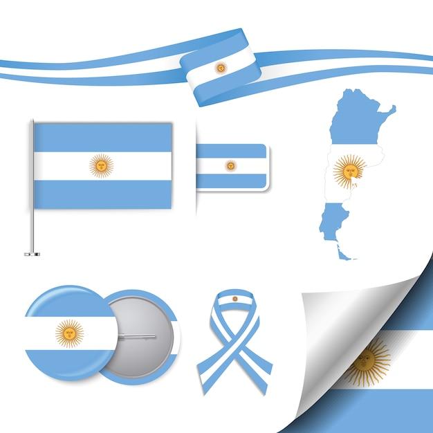 アルゼンチンデザインの旗が付いたステーショナリー要素コレクション 無料ベクター