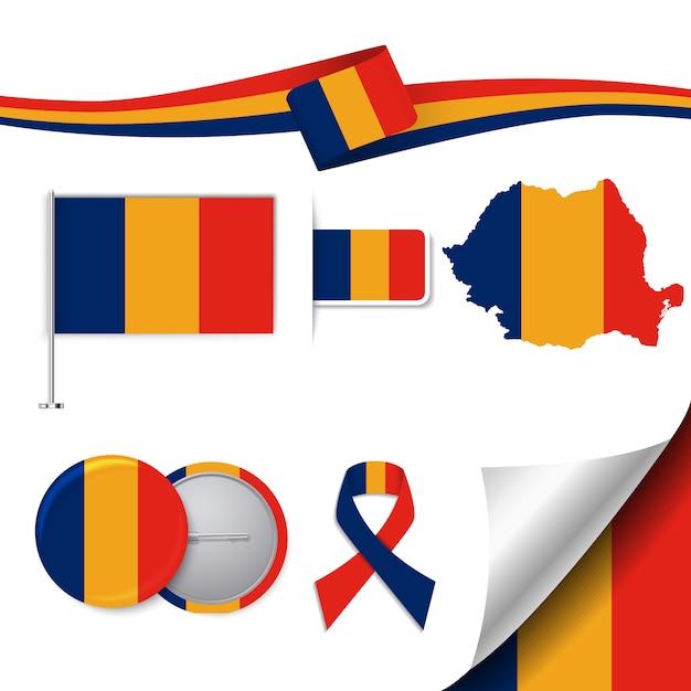 ルーマニアのデザインの旗のステーショナリー要素のコレクション 無料ベクター