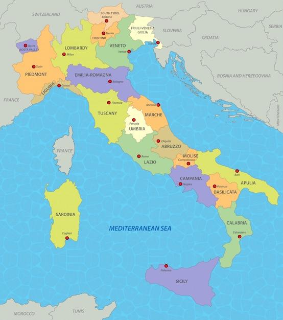 イタリアの地図 Premiumベクター