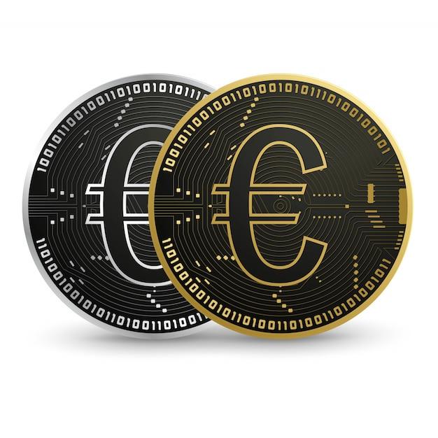 Цифровая евро, черная золотая монета Premium векторы