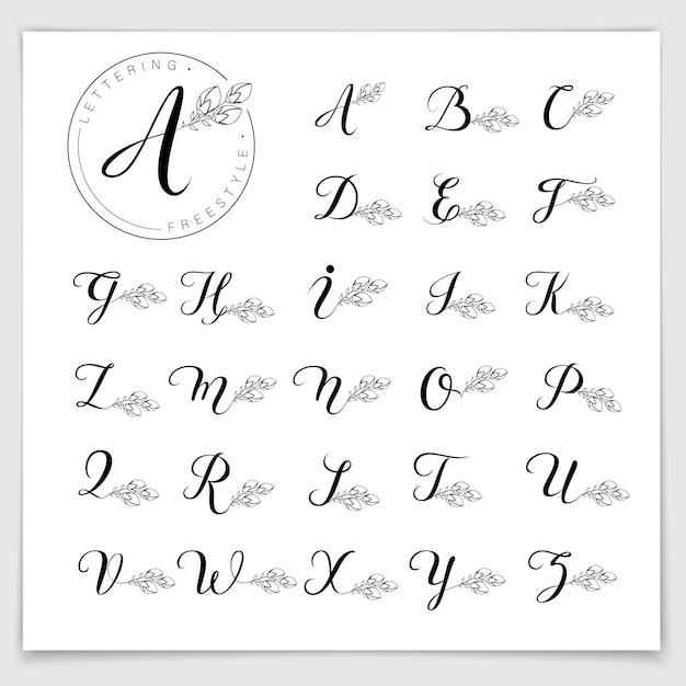 ブラシペンで書かれたモノグラムロゴアルファベット。 Premiumベクター