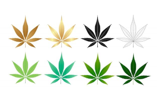Векторная коллекция листьев марихуаны Premium векторы
