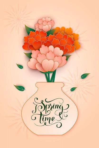 Красочный весенний фон с бумажным цветком Premium векторы