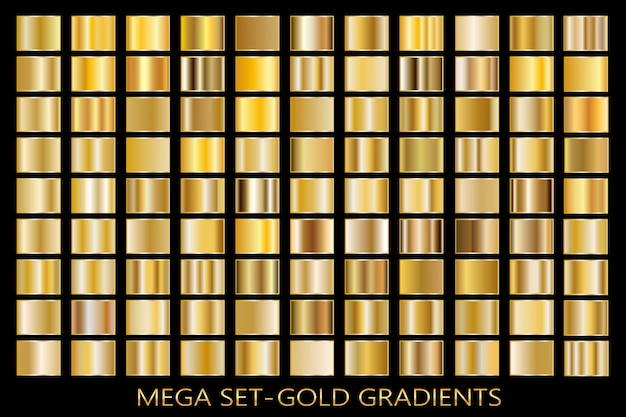 金箔のテクスチャ背景セット。ベクター黄金、銅、真鍮、金属のグラデーションテンプレート。 Premiumベクター