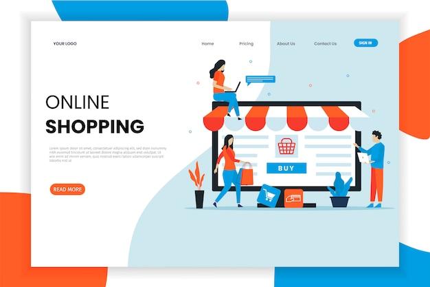 Современный плоский дизайн интернет-магазины целевой страницы Premium векторы