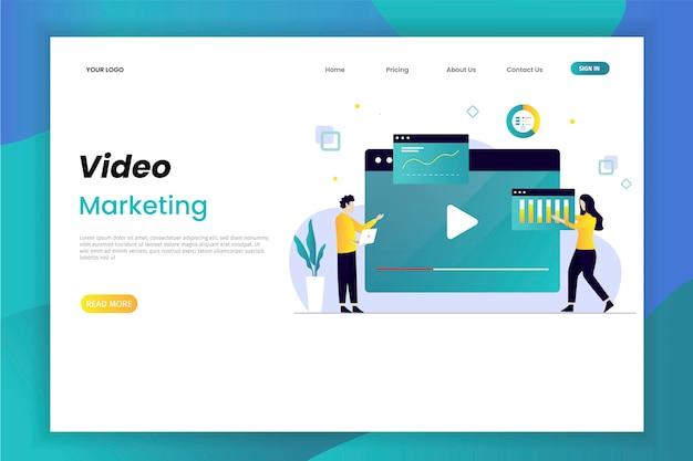 Видеомаркетинг и рекламная посадка Premium векторы