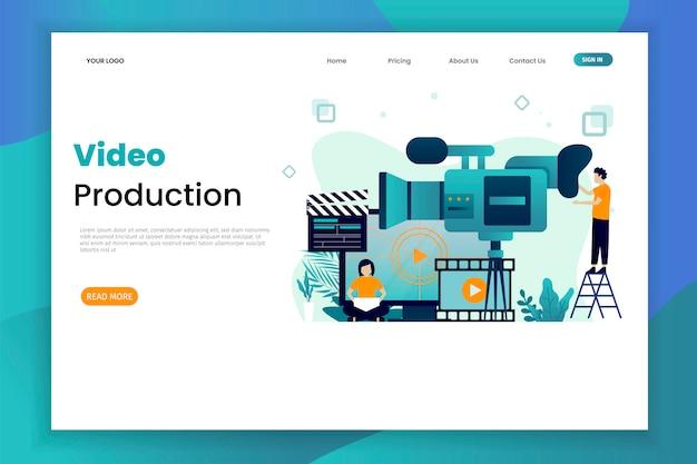 Видео производство векторные иллюстрации концепции шаблон целевой страницы с характером Premium векторы