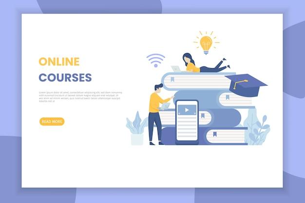 Целевая страница иллюстрации онлайн-курсов для сайта Premium векторы