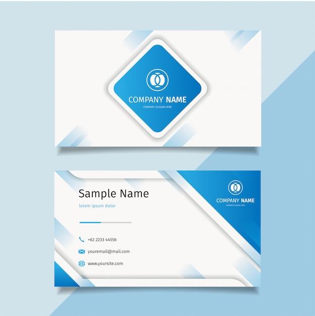 Синий современный творческий шаблон визитной карточки, простой чистый шаблон дизайна вектор, Premium векторы