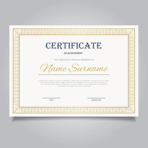 Элегантный сертификат с винтажными золотыми орнаментами Premium векторы