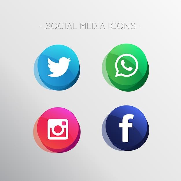 Современные иконки социальных сетей Бесплатные векторы