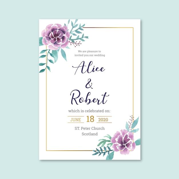 Красивое свадебное свадебное приглашение Бесплатные векторы