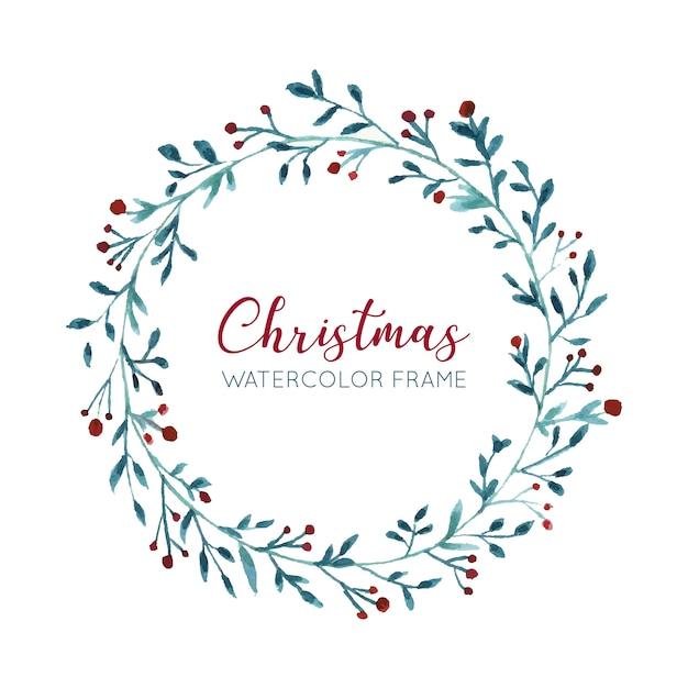 ニースの水彩クリスマスの花輪 無料ベクター