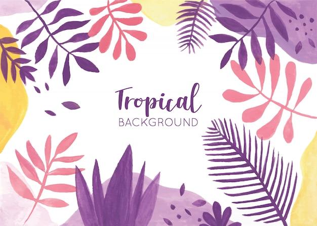 Красочный тропический фон с акварельными листьями Бесплатные векторы