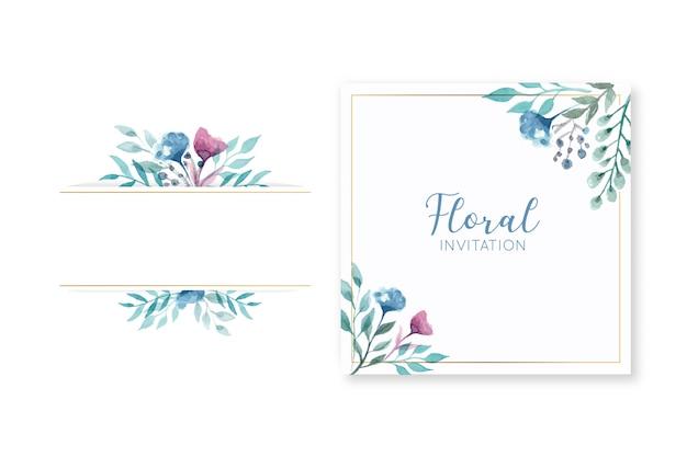 エレガントな花の結婚式の招待状カードとフレーム 無料ベクター
