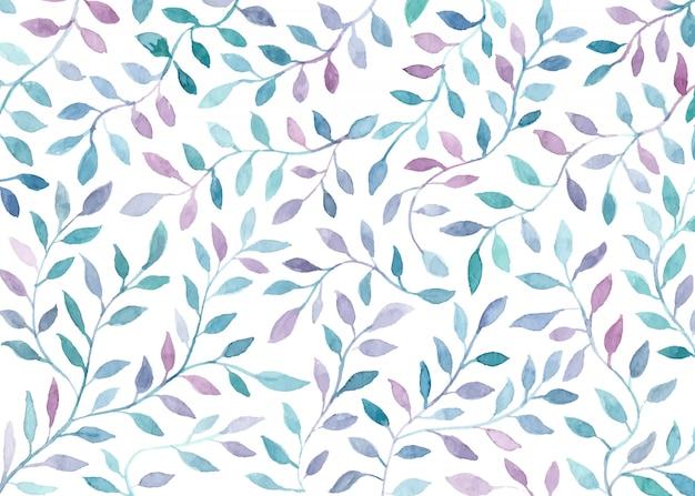 美しい水彩画の葉の背景 無料ベクター