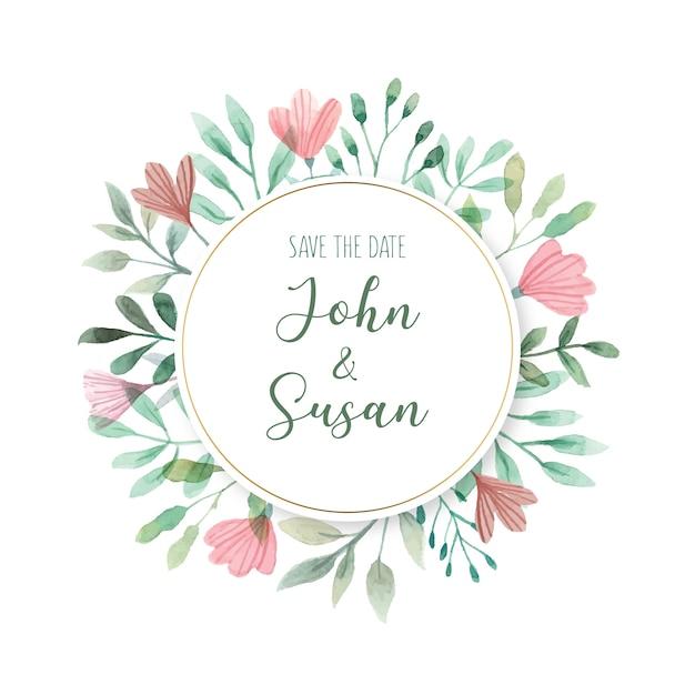 花の結婚式のカードテンプレート 無料ベクター