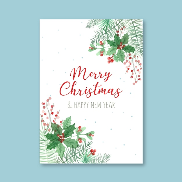クリスマスの水彩画ポスターテンプレート 無料ベクター