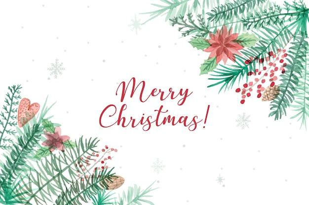 美しいメリークリスマスの背景 無料ベクター