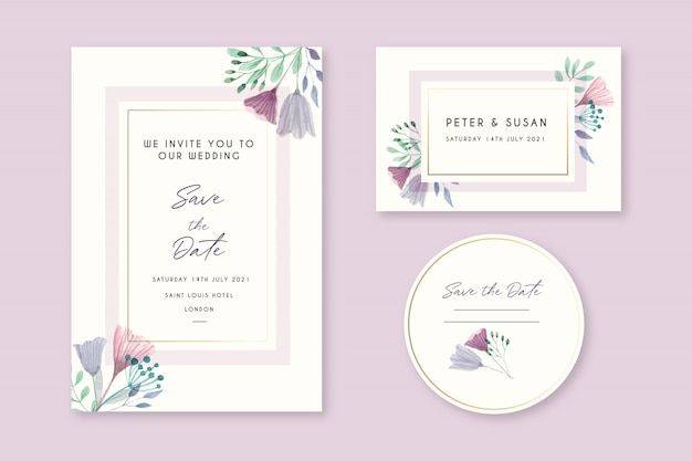 美しい花の結婚式の招待カード 無料ベクター