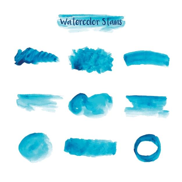 Голубые акварельные краски Бесплатные векторы
