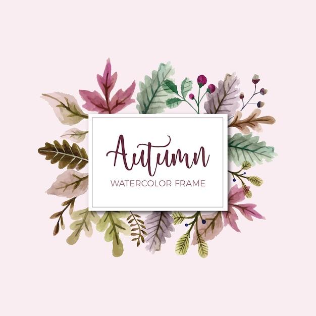 Рамка осенних листьев акварелью Бесплатные векторы