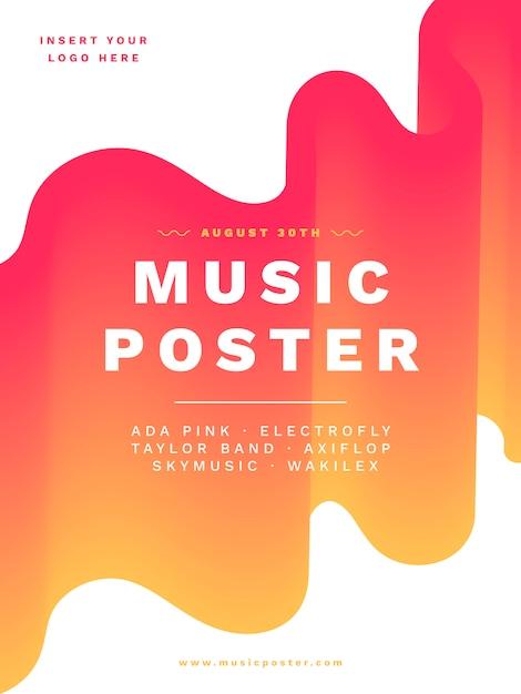 Шаблон плаката современной музыки с яркими цветами Бесплатные векторы
