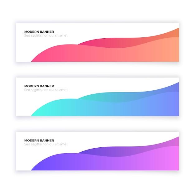 波形を使った抽象的なモダンなバナーコレクション 無料ベクター