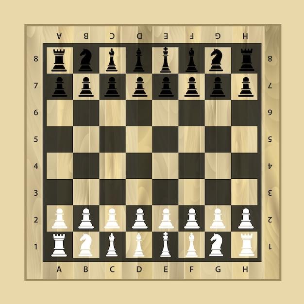 黒と白のチェスの木製ボードチェスの作品 Premiumベクター