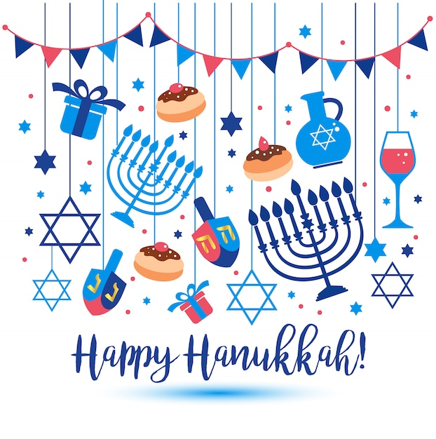 ユダヤ人の休日ハヌカグリーティングカードの伝統的なシンボル。 Premiumベクター