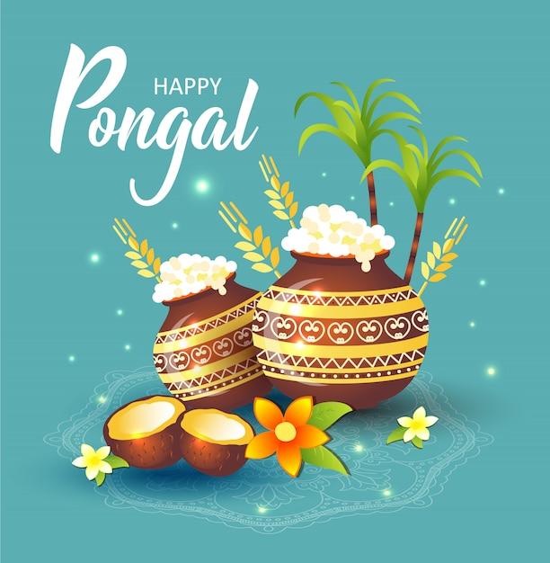 Иллюстрация счастливого праздника праздник урожая праздника тамил наду южной индии. Premium векторы