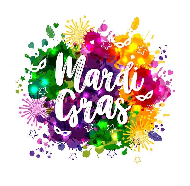 多色の水彩の汚れにカーニバルマルディグラ Premiumベクター