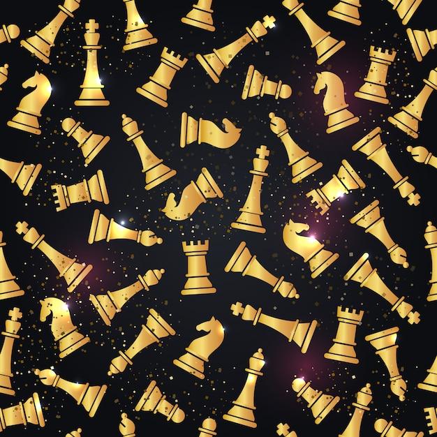 チェスの駒とのシームレスなパターン Premiumベクター