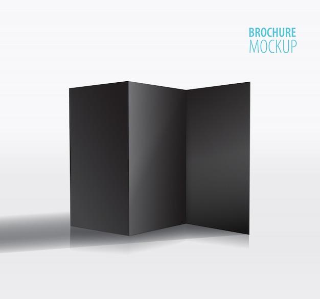 黒のパンフレットのデザインはグレーに分離されました。 Premiumベクター