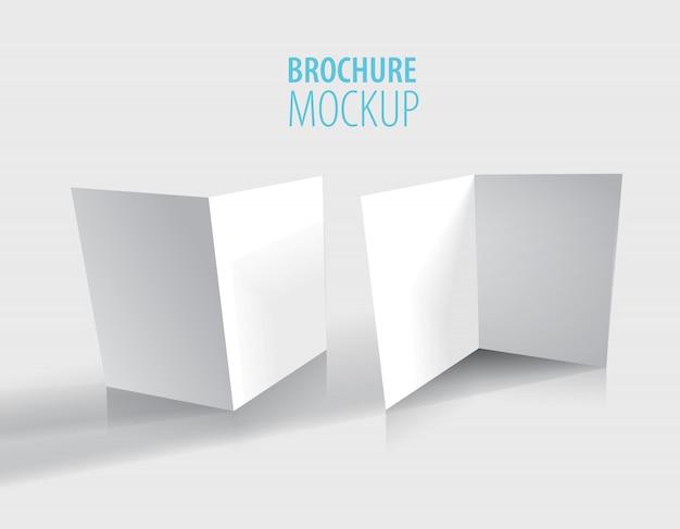 白のパンフレットのデザインはグレーに分離されました。 Premiumベクター