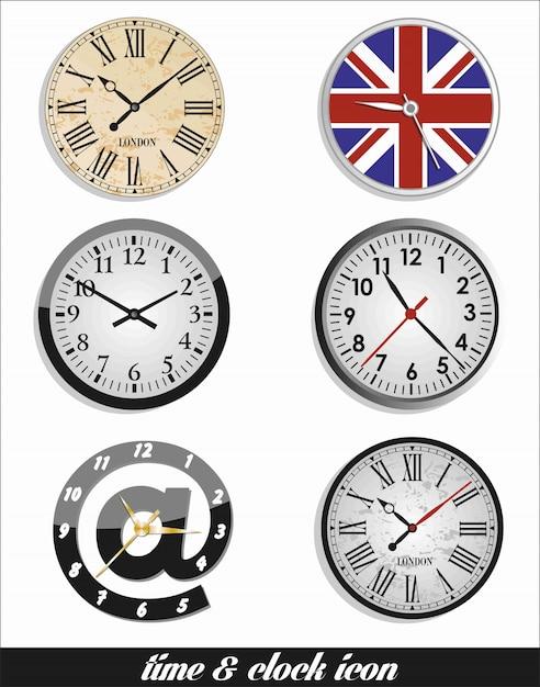 Время и часы установлены Premium векторы