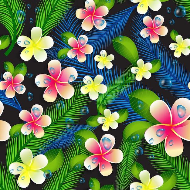 Красивые бесшовные цветочные джунгли узор фона. Premium векторы