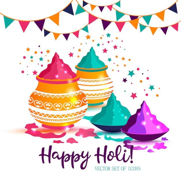 Индийский фестиваль счастливого холи красочные векторные иллюстрации. Premium векторы