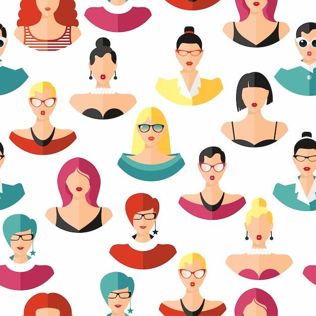 Бесшовные шаблон лица прическа цвета. девушки векторные иллюстрации. Premium векторы