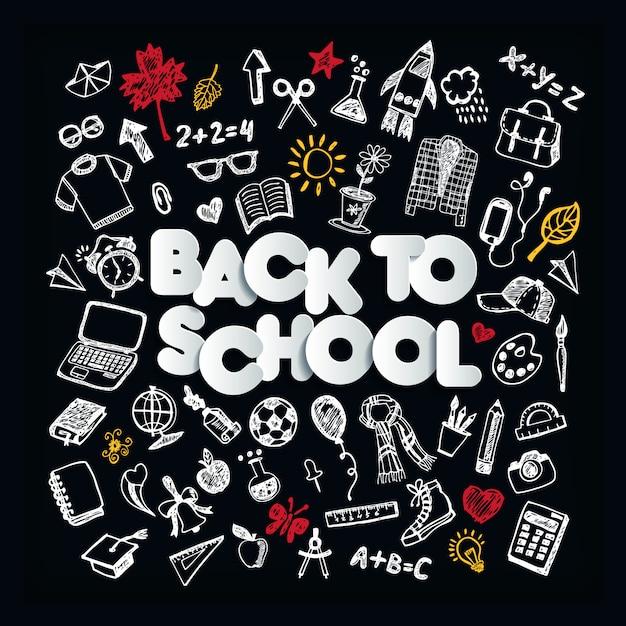 学校に戻る。黒板落書きセット。フリーハンド描画 Premiumベクター
