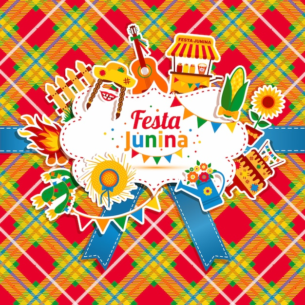 ラテンアメリカのフェスタジュニーナ村祭り。アイコンは明るい色で設定します。フラットスタイルの装飾。 Premiumベクター