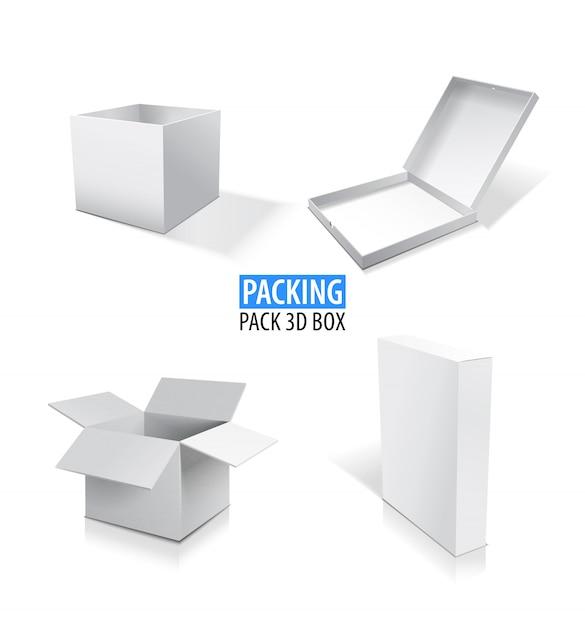 現実的な白は、空白のボックスセットの図を開閉します。 Premiumベクター