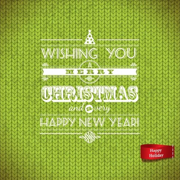 グリーンウールクリスマスレタリング 無料ベクター