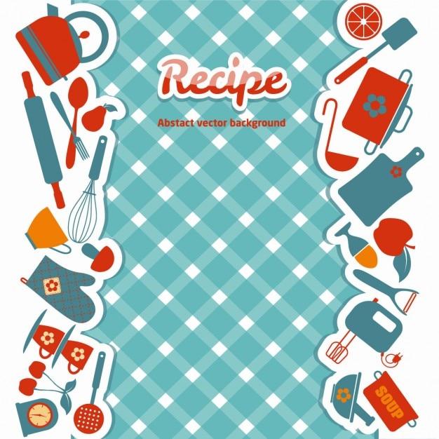 Кухня абстрактные яркие иллюстрации Бесплатные векторы
