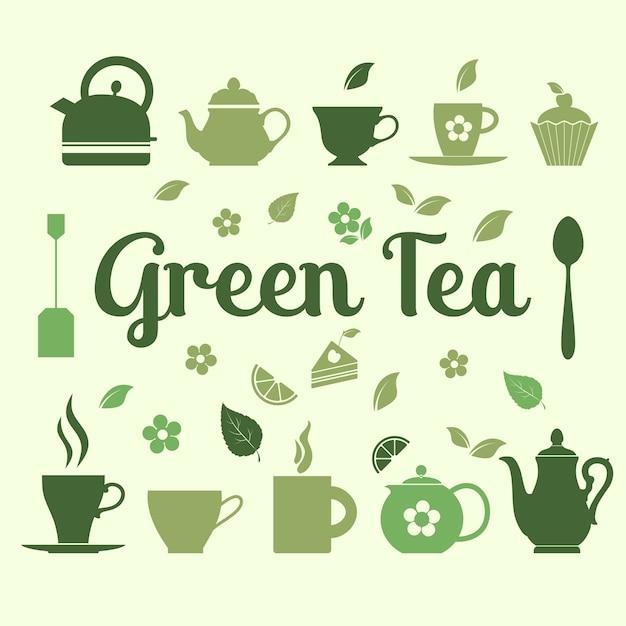 Иллюстрация зеленого чая иконок Бесплатные векторы