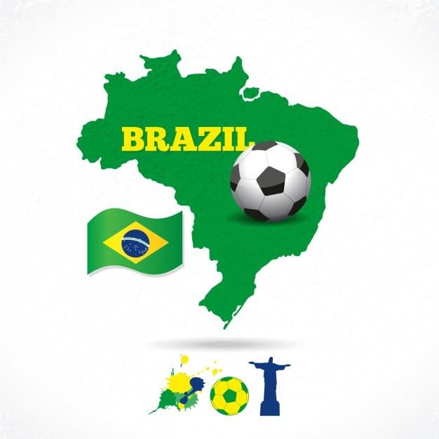 その旗とサッカーとブラジルの地図 無料ベクター