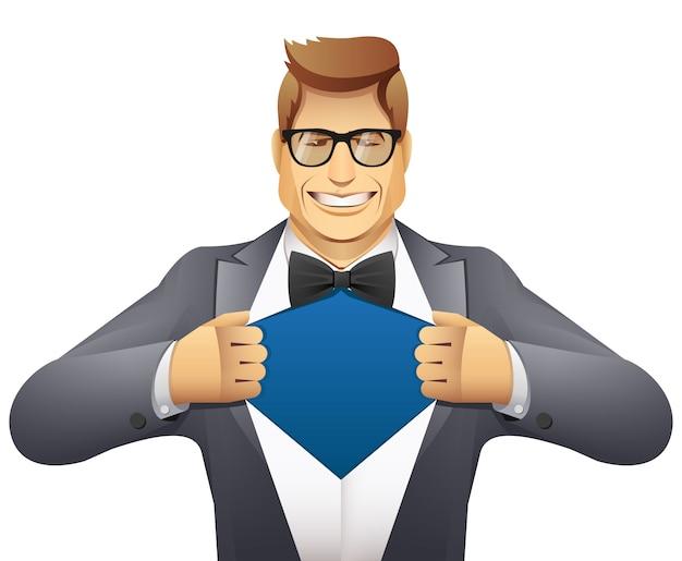 ビジネスマンは彼のシャツを開きます。スーパーヒーロー Premiumベクター