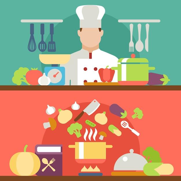 調理プロセスのベクトル図 Premiumベクター